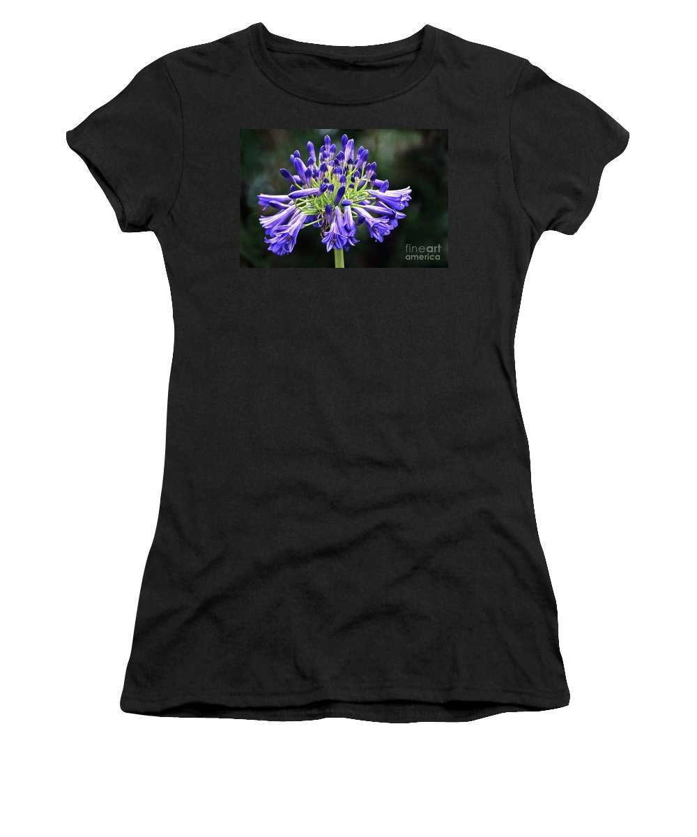 Agapanthus Africanus Women's T-Shirt featuring the photograph Blue Lily Of The Nile by Byron Varvarigos