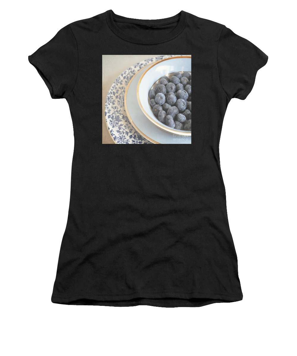 Blueberries Women's T-Shirt featuring the photograph Blueberries In Blue And White China Bowl by Lyn Randle