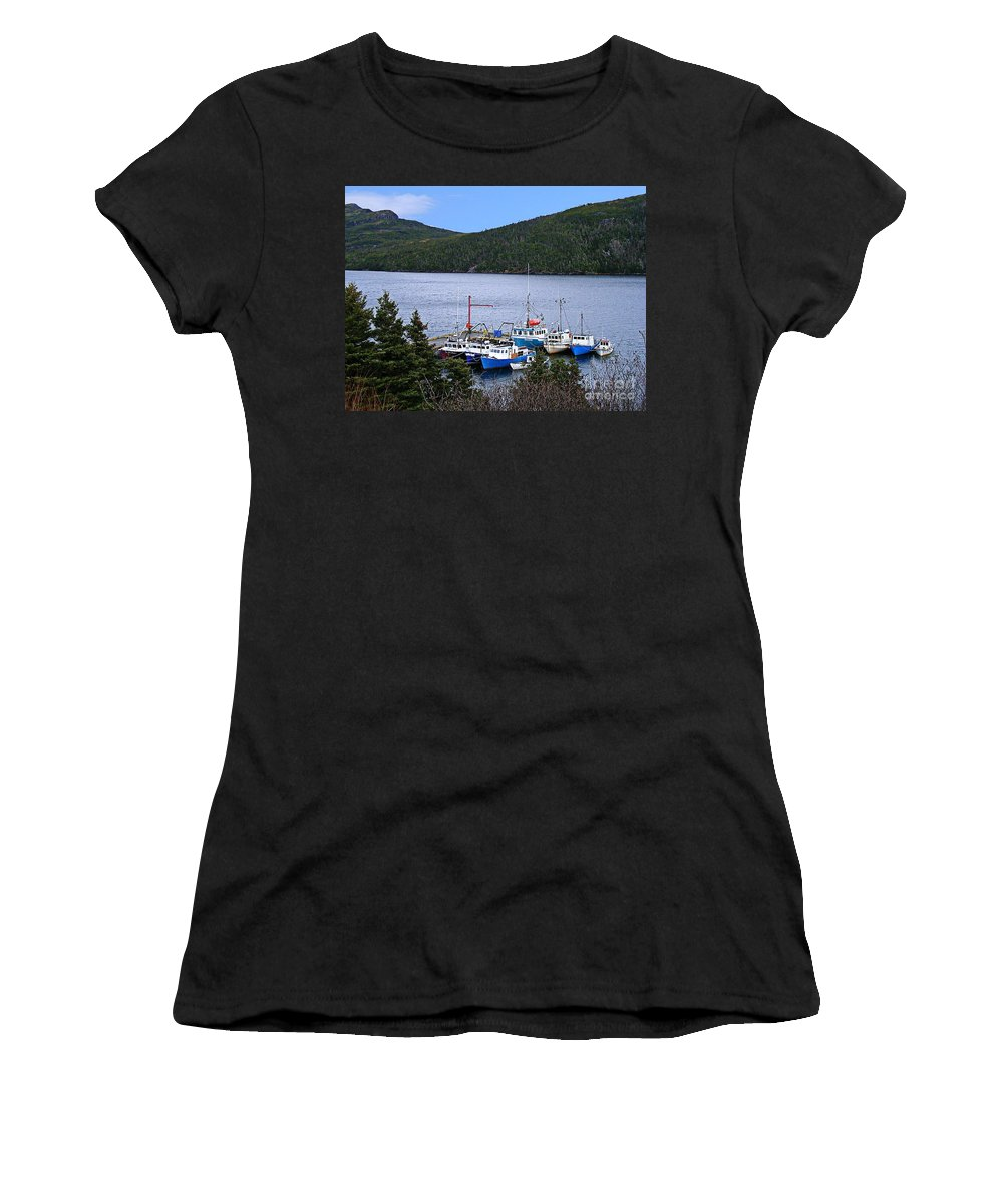 Boats Women's T-Shirt (Athletic Fit) featuring the photograph Boat Lineup by Barbara Griffin