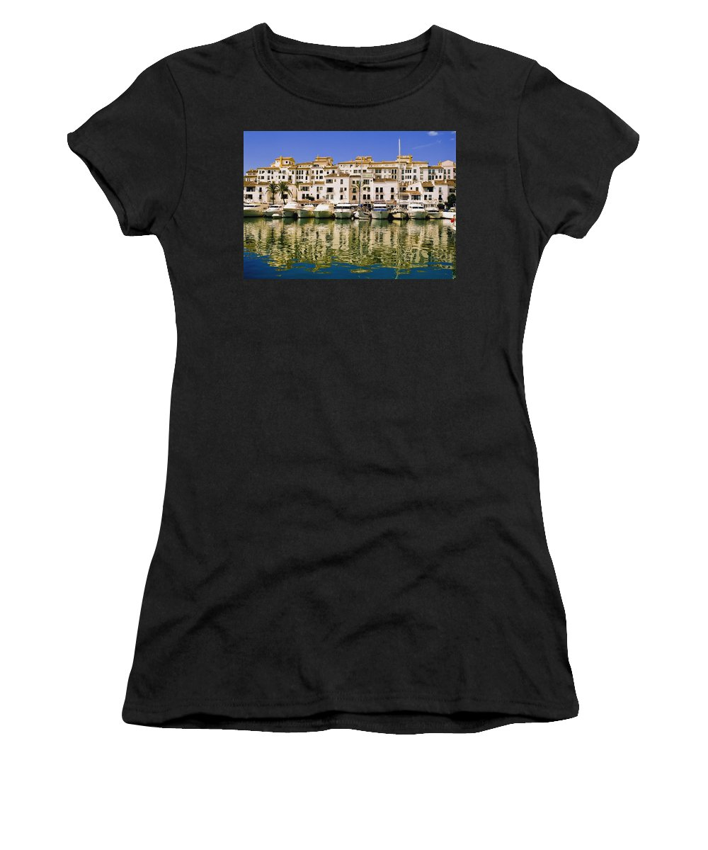 Horizontal Women's T-Shirt (Athletic Fit) featuring the photograph Boats And Houses On Waterfront by Axiom Photographic