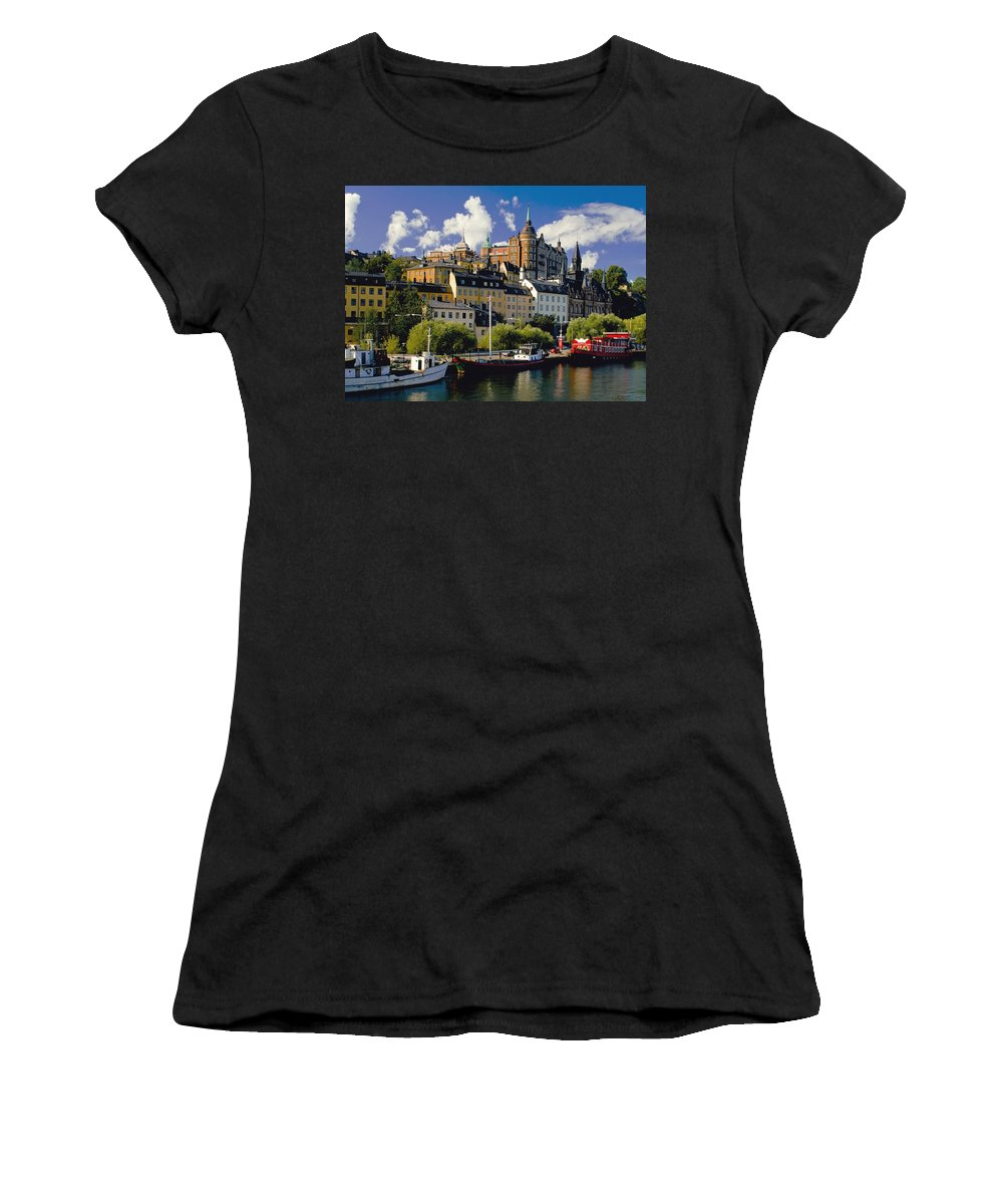 Capital Cities Women's T-Shirt (Athletic Fit) featuring the photograph Boats On Waterfront by Axiom Photographic