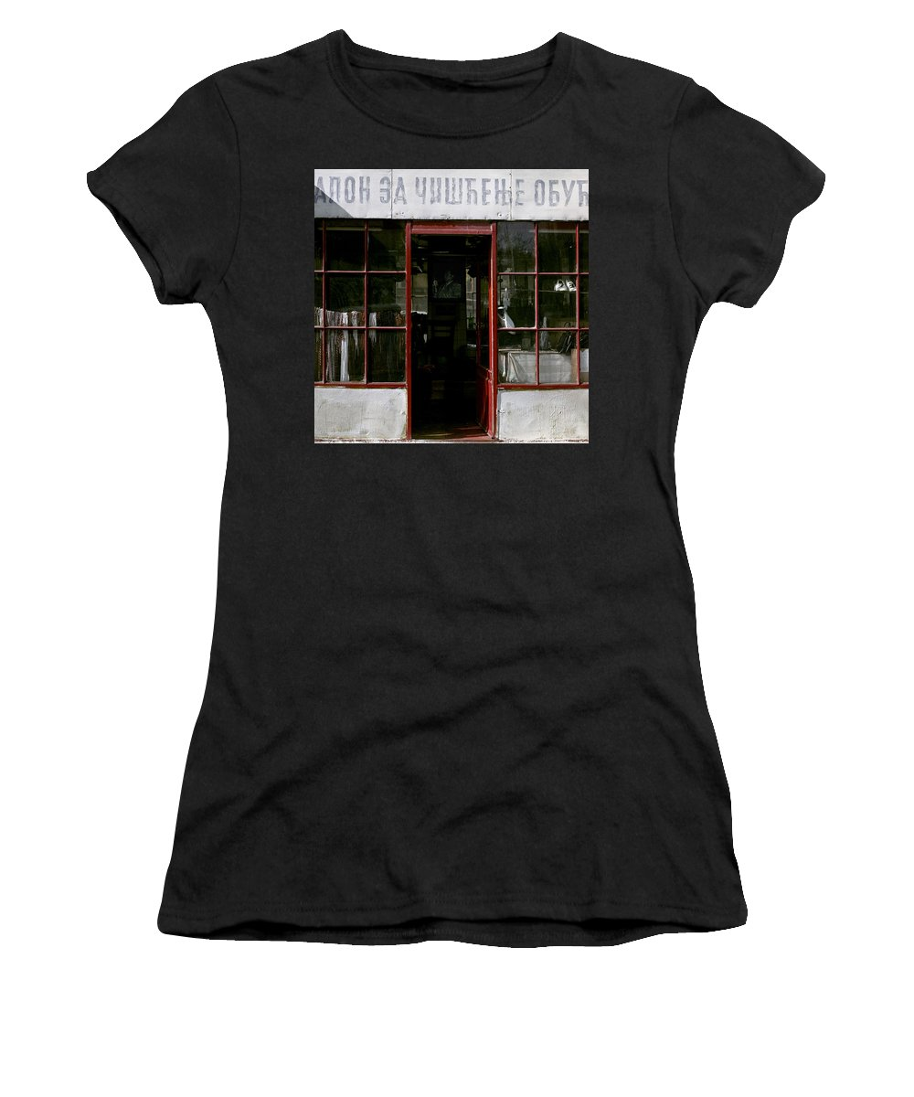Serbia Belgrade Women's T-Shirt (Athletic Fit) featuring the photograph Bootblack. Belgrade. Serbia by Juan Carlos Ferro Duque