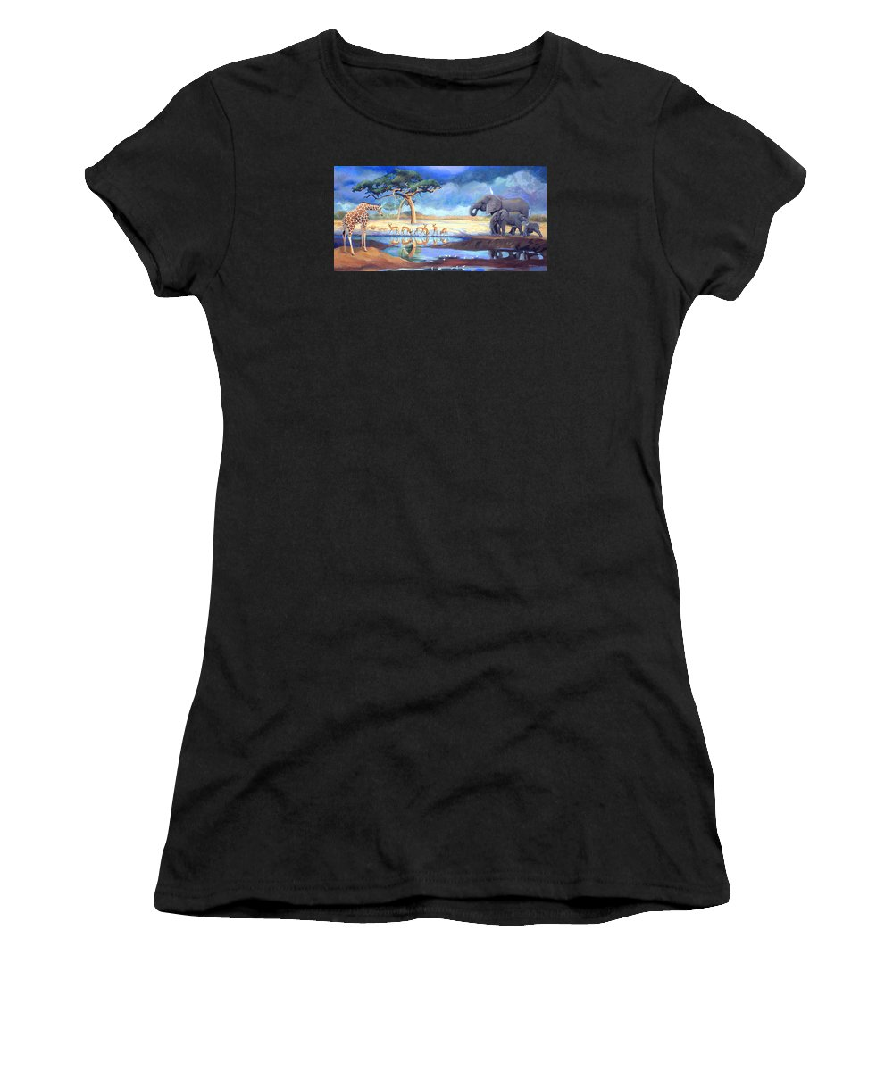 Botswana Women's T-Shirt (Athletic Fit) featuring the painting Botswana Watering Hole by Susan McNally