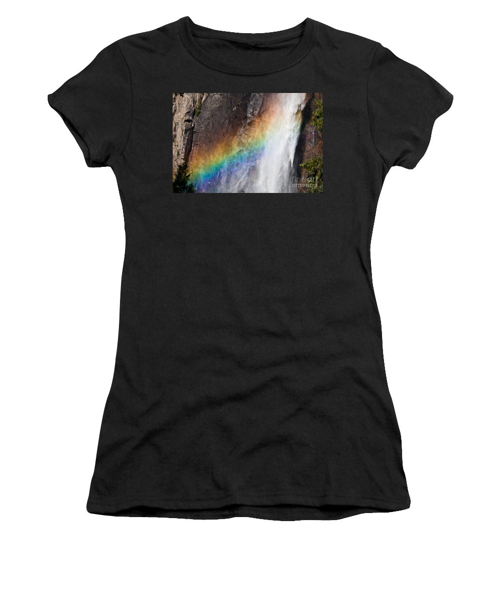 Granite Women's T-Shirt featuring the photograph Bridalveil Fall Rainbow by Olivier Steiner