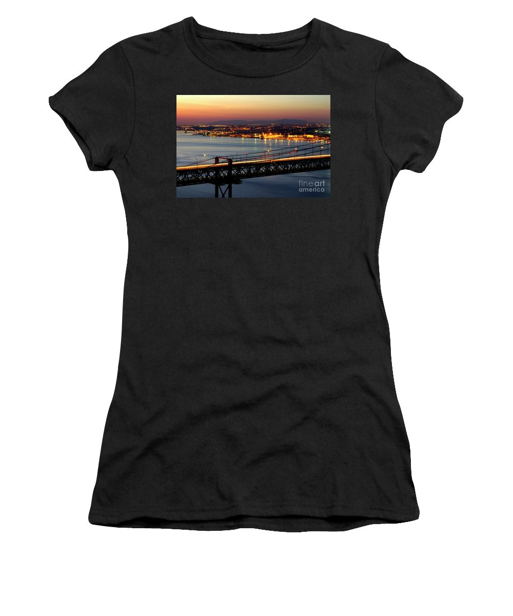 Architecture Women's T-Shirt (Athletic Fit) featuring the photograph Bridge Over Tagus by Carlos Caetano