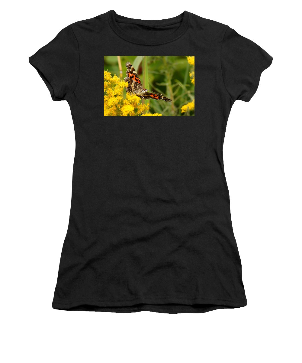 Goldenrod Women's T-Shirt (Athletic Fit) featuring the photograph Brown-eyed Beauty by Bill Pevlor