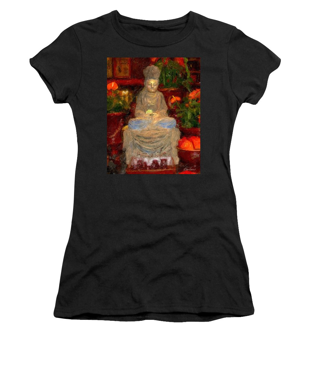 Buddha Women's T-Shirt featuring the photograph Buddha In Red by Diana Haronis