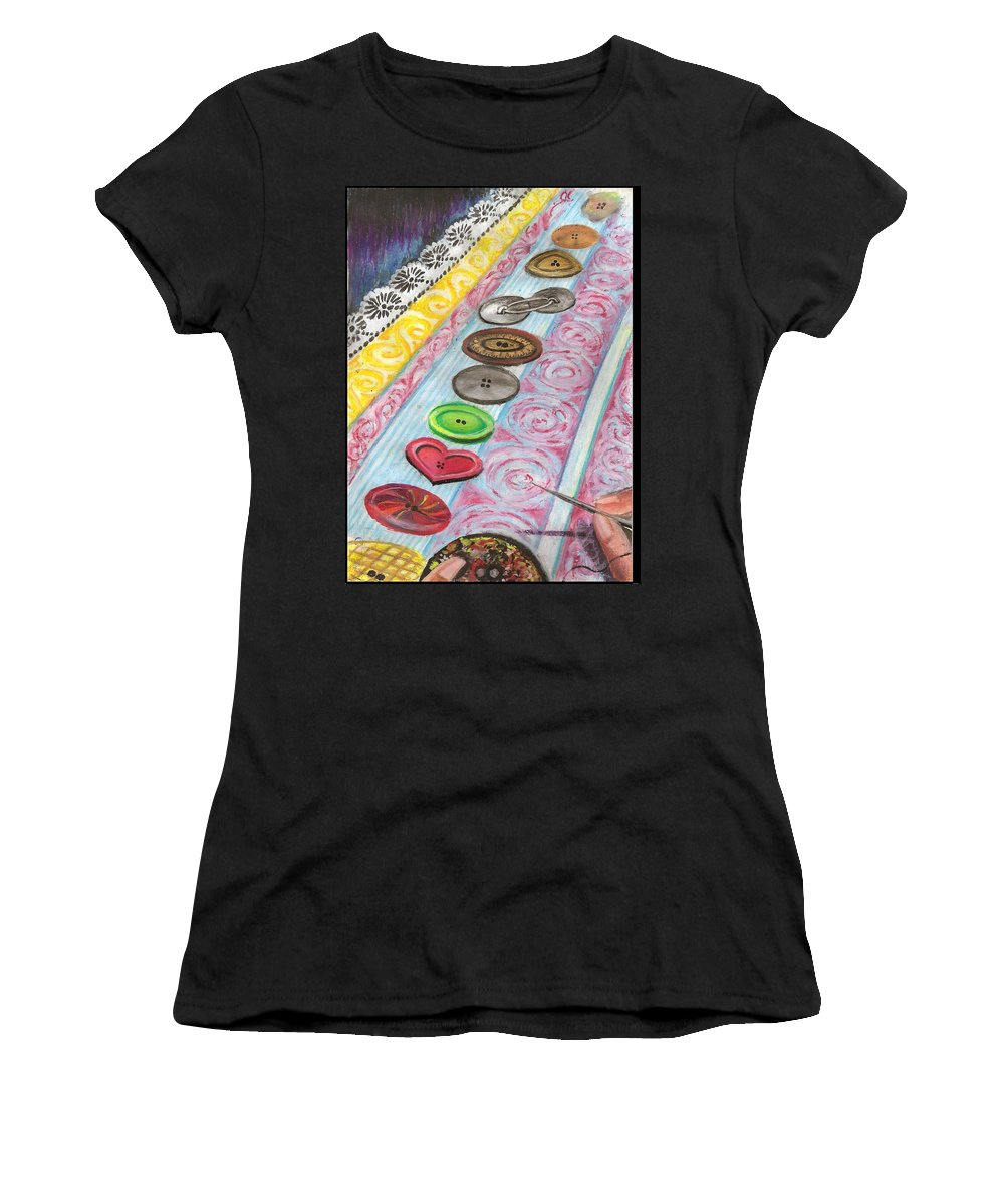 Buttons Women's T-Shirt featuring the mixed media Buttons Down The Ages by Gayatri Ketharaman