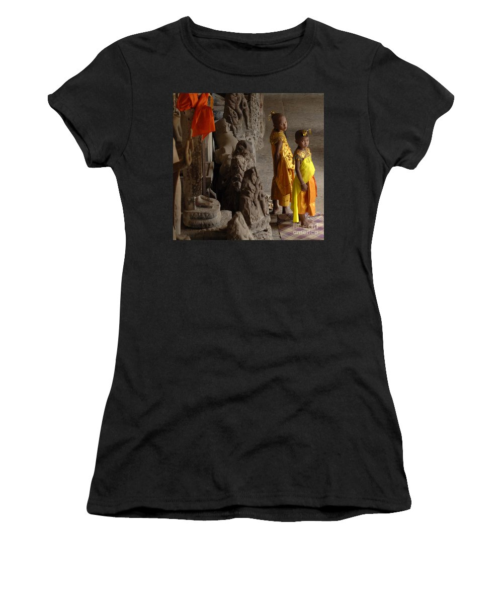 Cambodian Youth Women's T-Shirt (Athletic Fit) featuring the photograph Cambodian Youths by Bob Christopher
