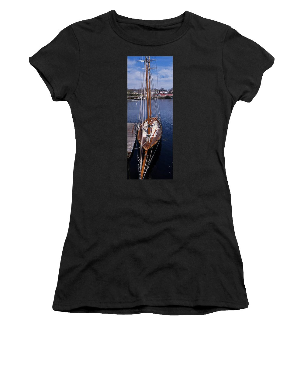 Maine Women's T-Shirt (Athletic Fit) featuring the photograph Camden Tall Ship by Skip Willits