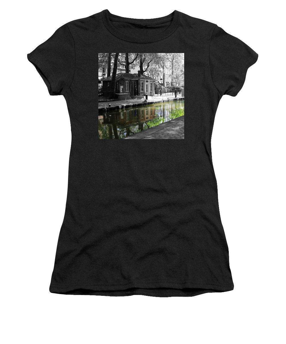 Paris Women's T-Shirt featuring the photograph Canal Saint Martin by Andrew Fare