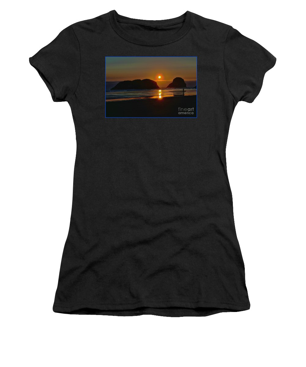 City Of Cannon Beach Located Pacific Northwest Coast Oregon Portland South Of Astoria Women's T-Shirt (Athletic Fit) featuring the photograph Cannon Beach Sunset by RJ Aguilar