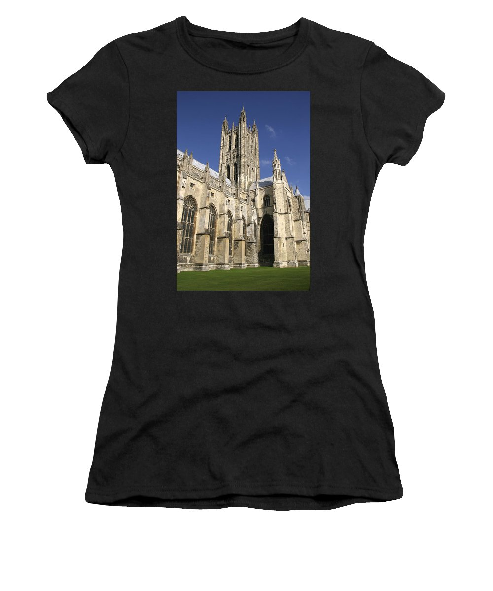Vertical Women's T-Shirt (Athletic Fit) featuring the photograph Canterbury Cathedral, Exterior by Axiom Photographic