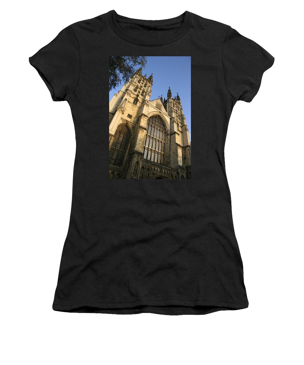 Windows Women's T-Shirt (Athletic Fit) featuring the photograph Canterbury Cathedral, Low Angle View by Axiom Photographic