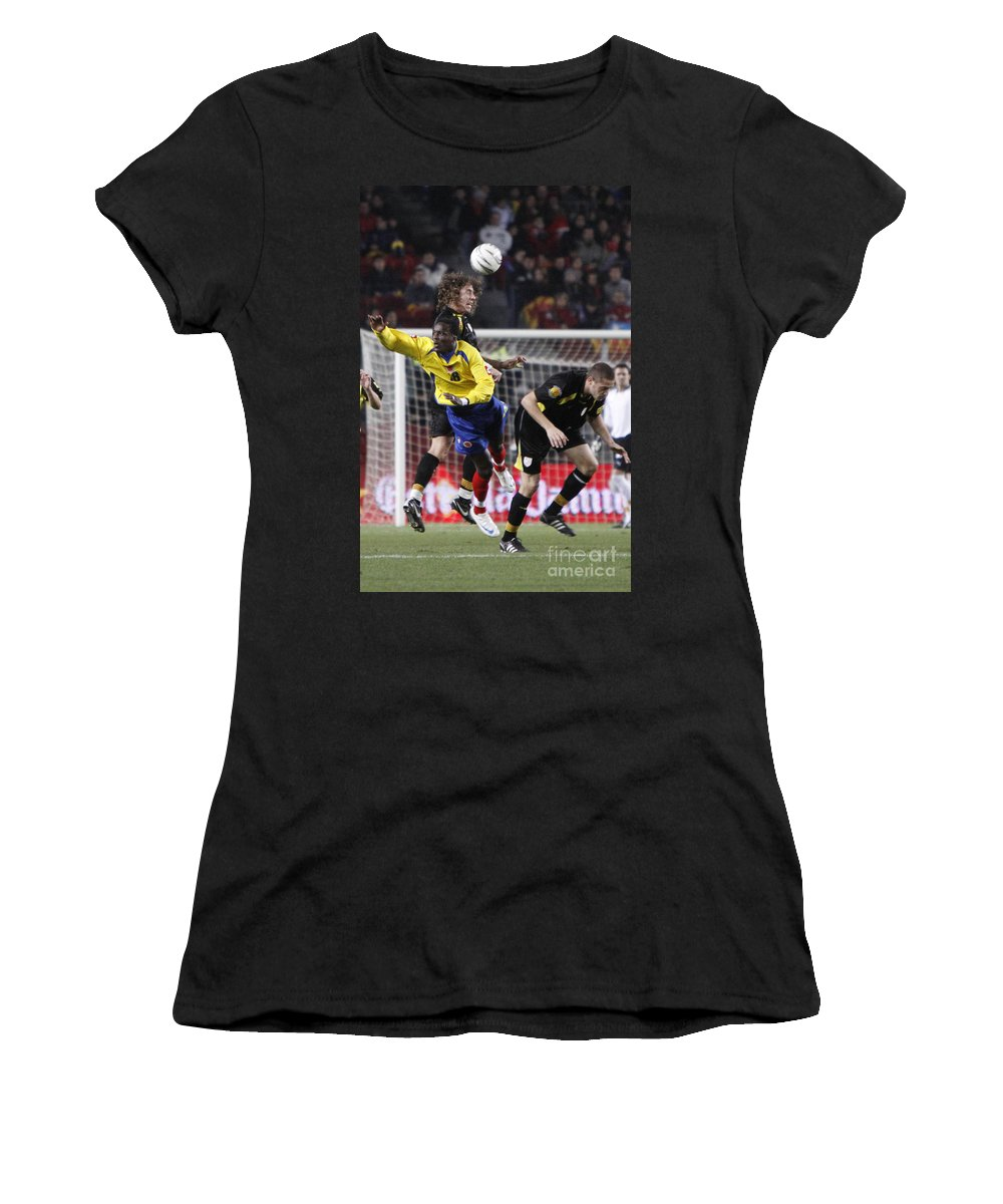 Carles Women's T-Shirt featuring the photograph Carles Puyol Jumping by Agusti Pardo Rossello