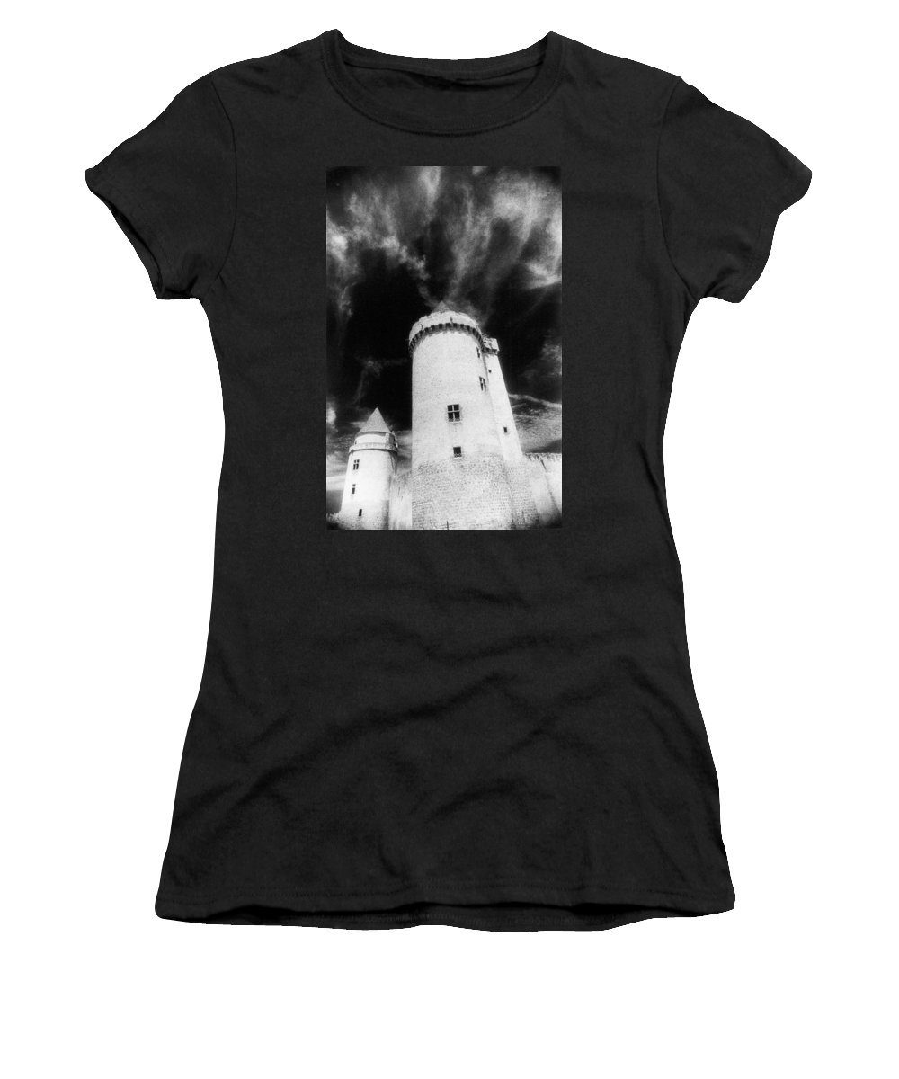 Architecture; Exterior; French; Castle; Renaissance; Tower; Towers; Fort; Fortress; Night; Dramatic; Atmospheric; Dark; Night; Stormy; Moonlit; Moonlight; Turret; Turrets; Haunted; Fairytale; Spooky; Eerie Women's T-Shirt (Athletic Fit) featuring the photograph Chateau De Blandy Les Tours by Simon Marsden