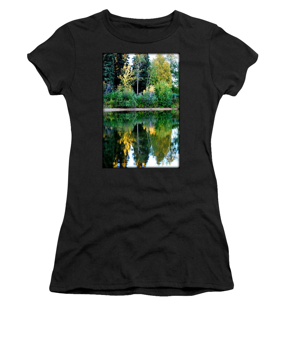 Chena Women's T-Shirt (Athletic Fit) featuring the photograph Chena River View by Kathy Sampson