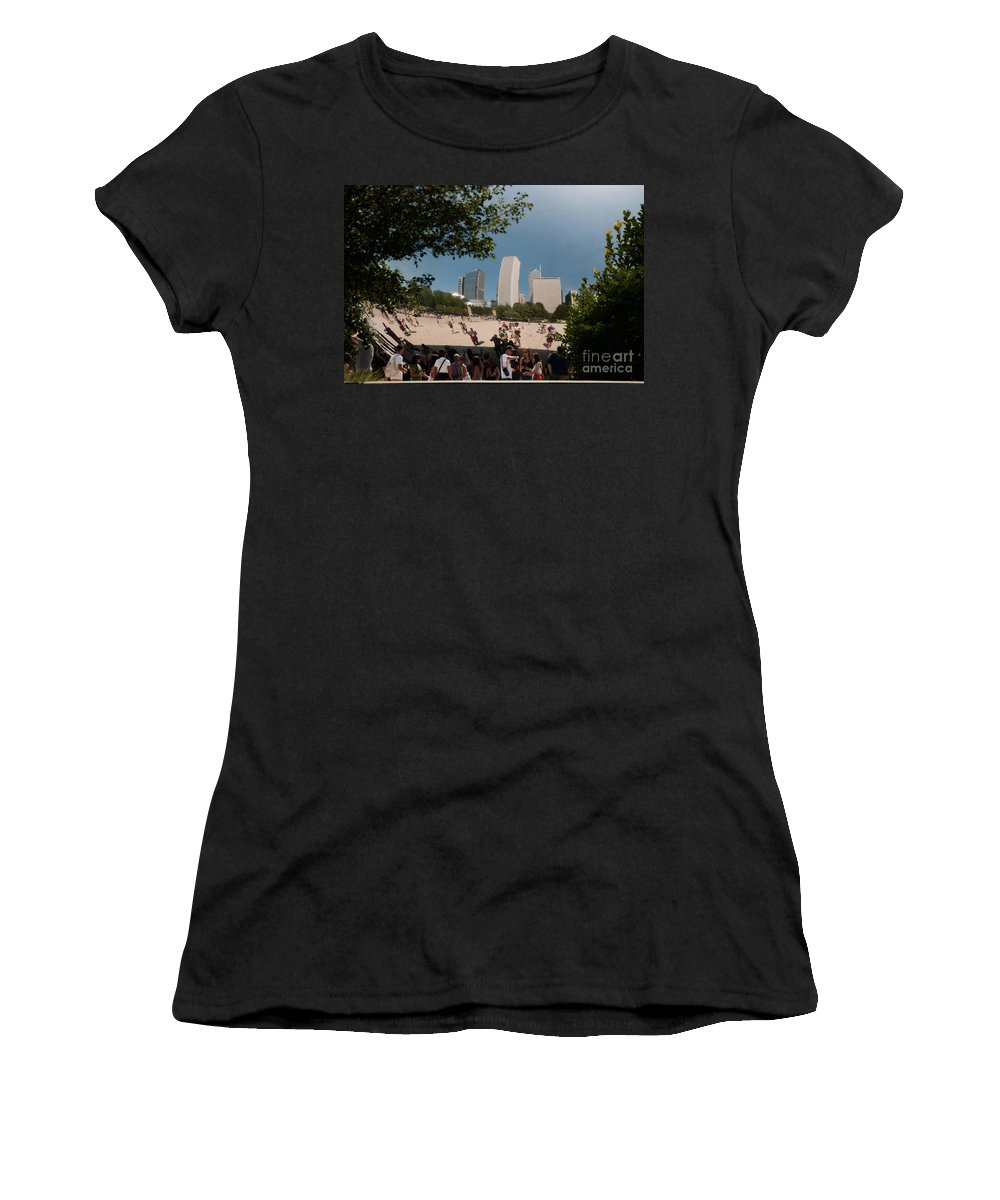 Artistic Sculpture Women's T-Shirt (Athletic Fit) featuring the digital art Chicago City Scenes by Carol Ailles