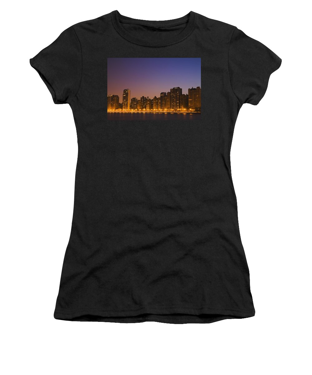 Horizontal Women's T-Shirt (Athletic Fit) featuring the photograph Chicago Downtown Skyline At Night by Axiom Photographic