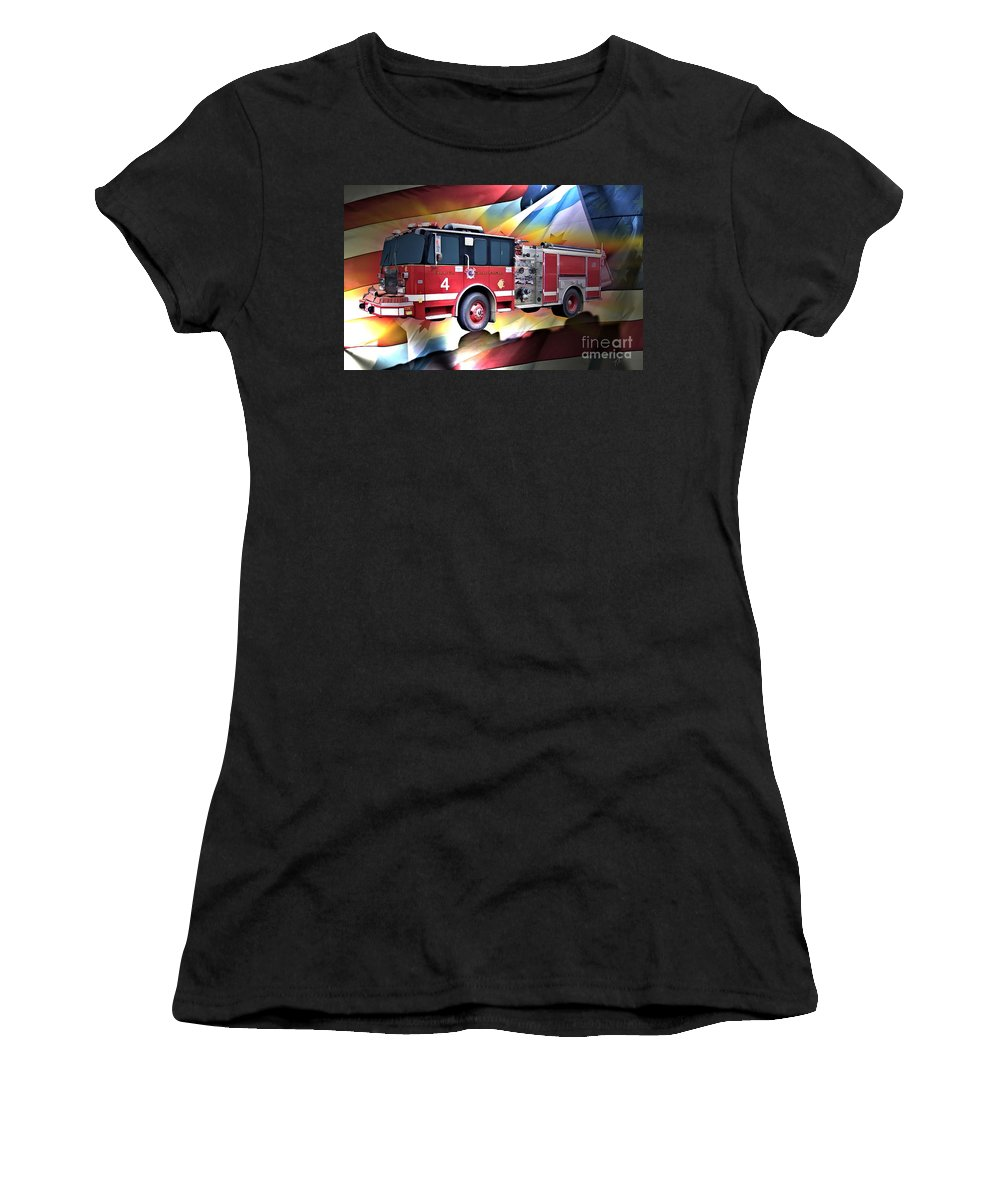 Chicago Women's T-Shirt featuring the digital art Chicago Eng 4 by Tommy Anderson