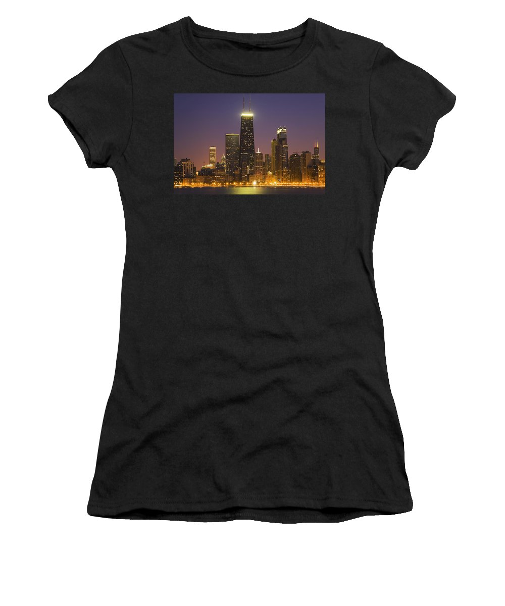 Horizontal Women's T-Shirt (Athletic Fit) featuring the photograph Chicago Skyscrapers With John Hancock by Axiom Photographic