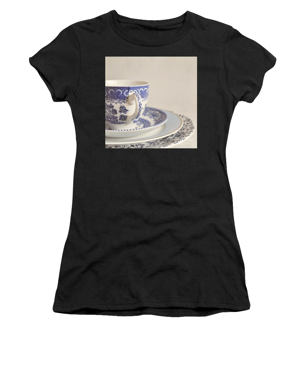 Cup Women's T-Shirt featuring the photograph China Cup And Plates by Lyn Randle