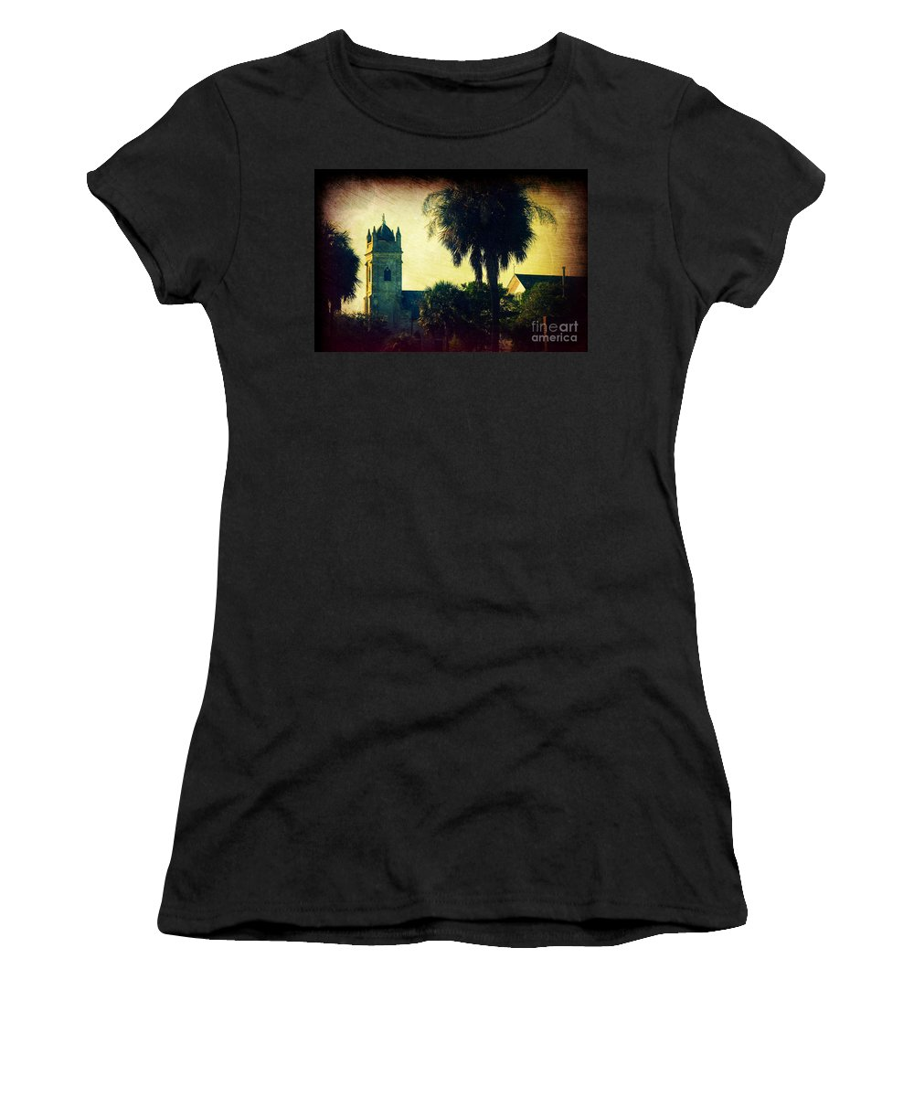 Church Women's T-Shirt (Athletic Fit) featuring the photograph Church At Fort Moultrie Near Charleston Sc by Susanne Van Hulst