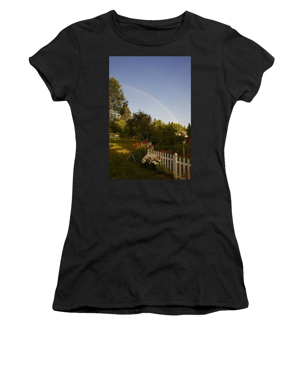Clear Women's T-Shirt (Athletic Fit) featuring the photograph Clear Sky Rainbow by Mick Anderson