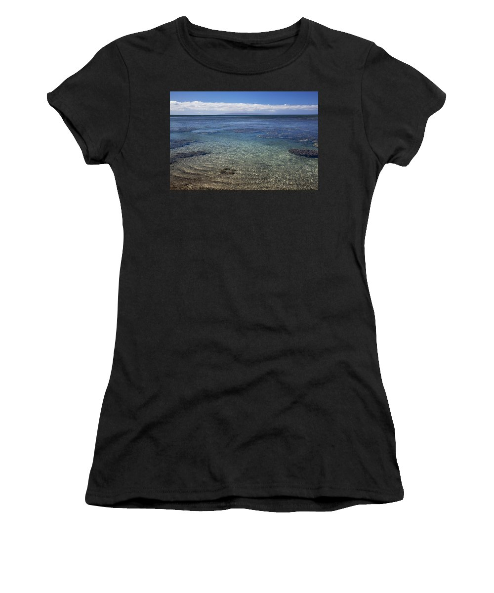 Beach Art Women's T-Shirt (Athletic Fit) featuring the photograph Clear Water And Coral by Jenna Szerlag