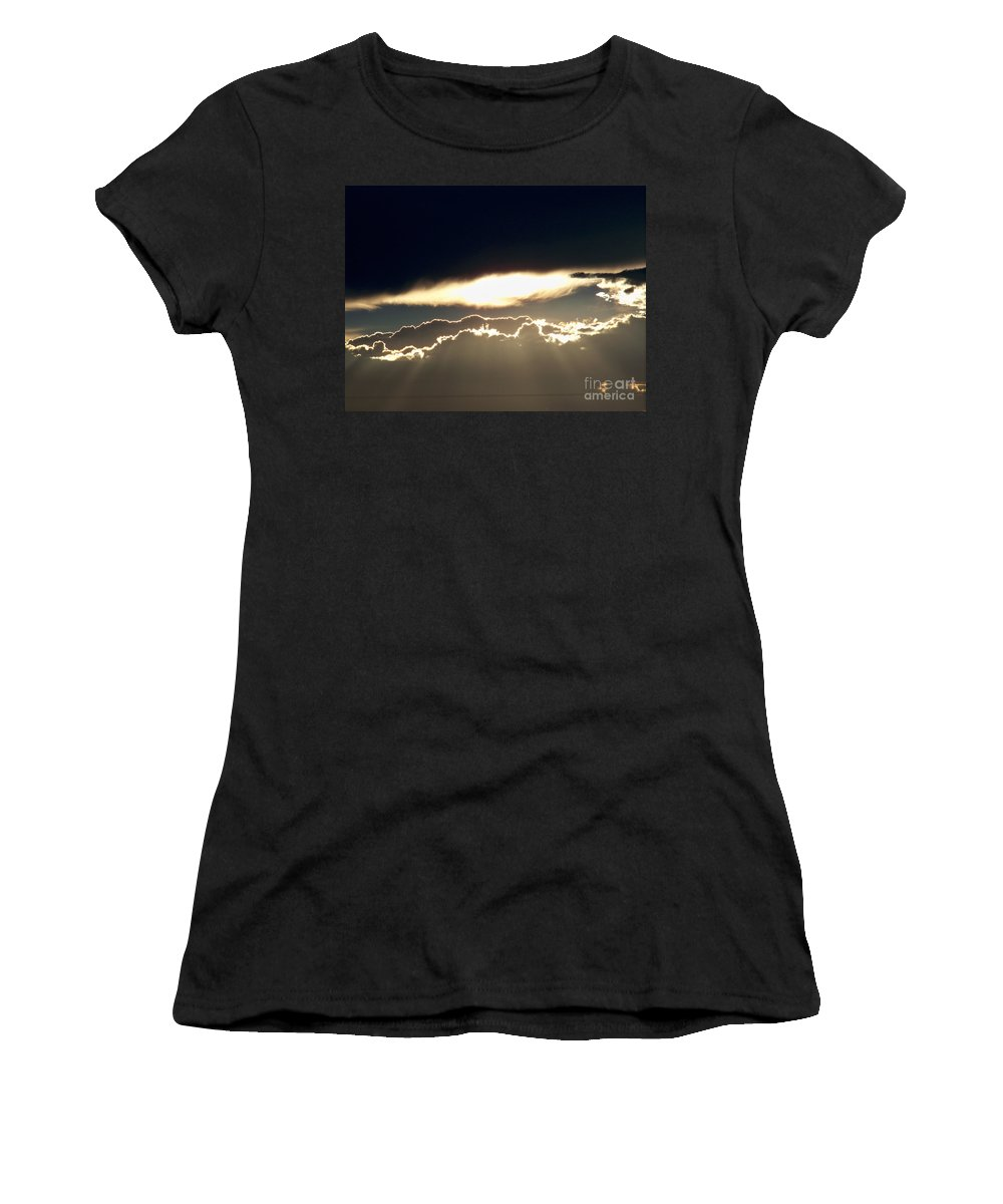 Clouds Women's T-Shirt (Athletic Fit) featuring the painting Cloud Lines by Brian Commerford