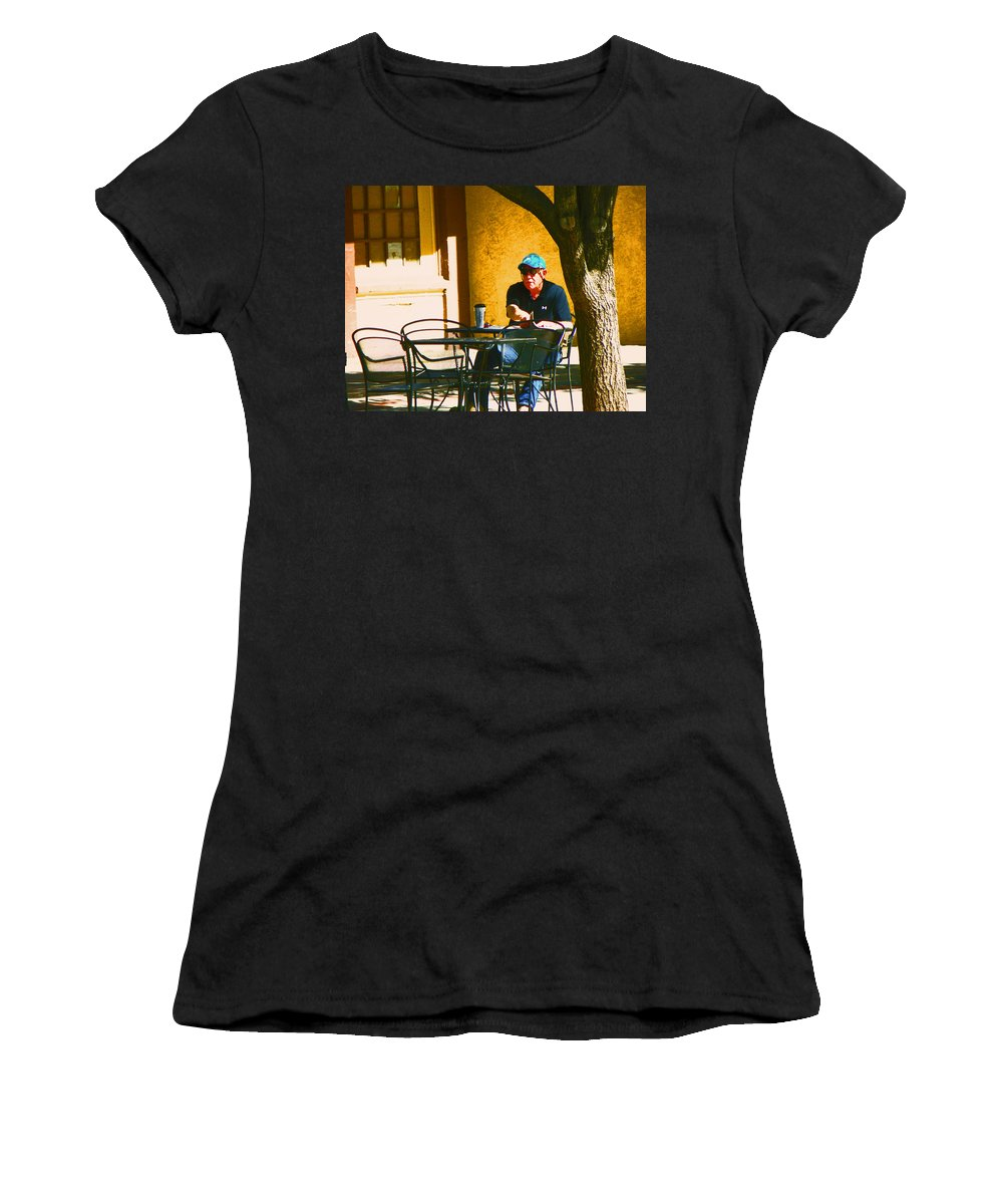 Abstract Women's T-Shirt (Athletic Fit) featuring the photograph Coffee At The Outdoor Cafe by Lenore Senior