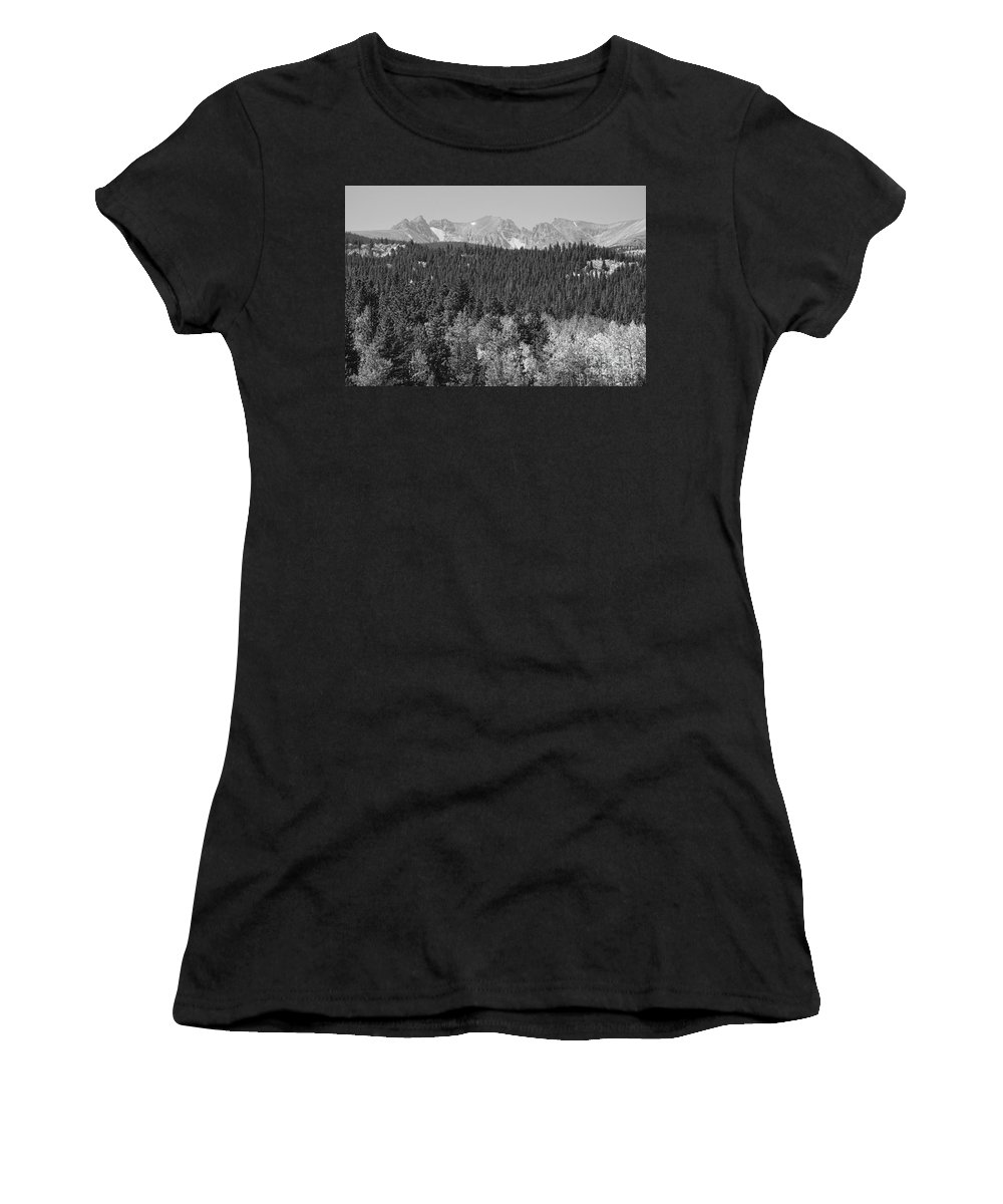 Colorado Women's T-Shirt (Athletic Fit) featuring the photograph Colorado Rocky Mountain Continental Divide View Bw by James BO Insogna