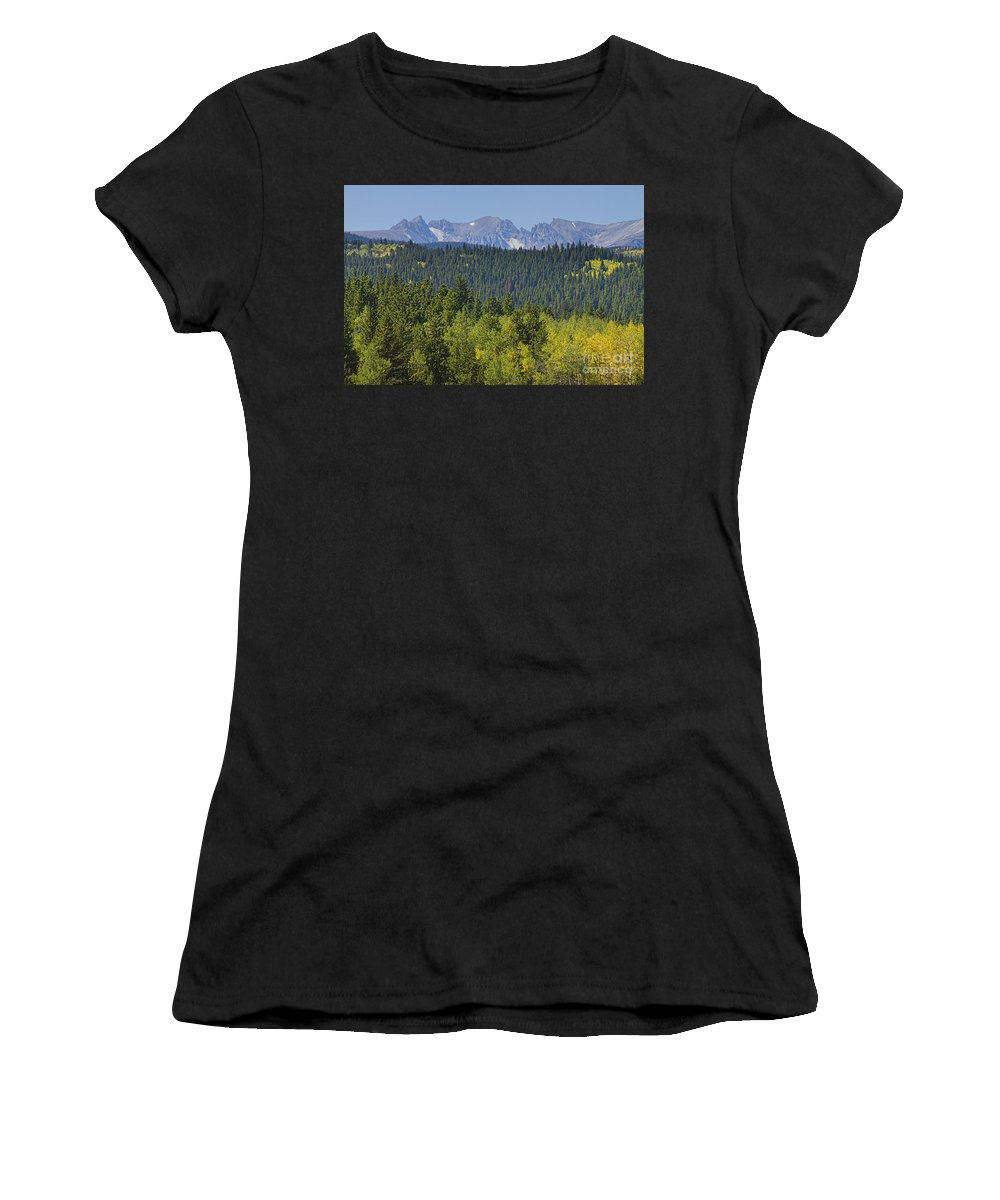 Colorado Women's T-Shirt (Athletic Fit) featuring the photograph Colorado Rocky Mountain Continental Divide Autumn View by James BO Insogna