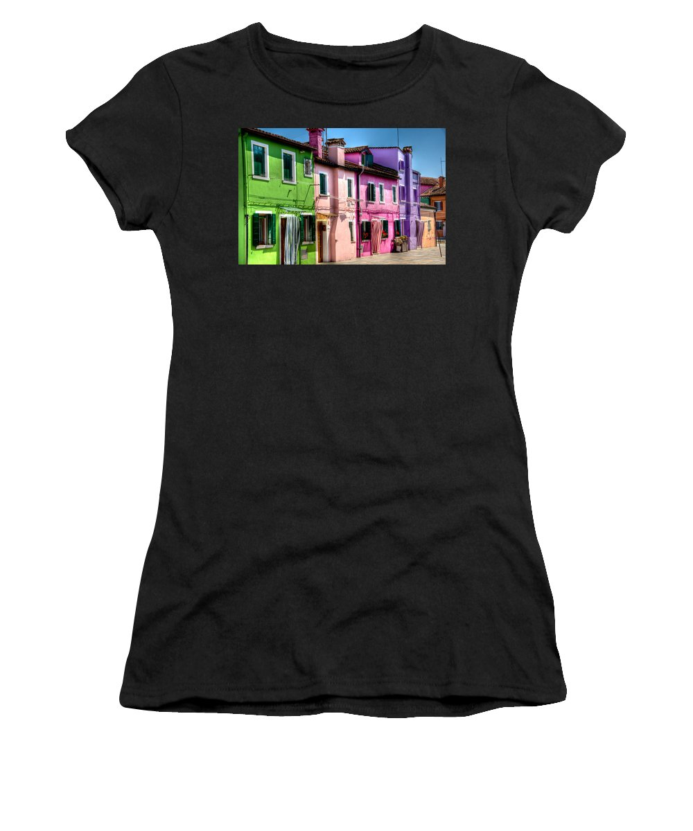 Burano Women's T-Shirt featuring the photograph Colorful Burano Italy by Jon Berghoff