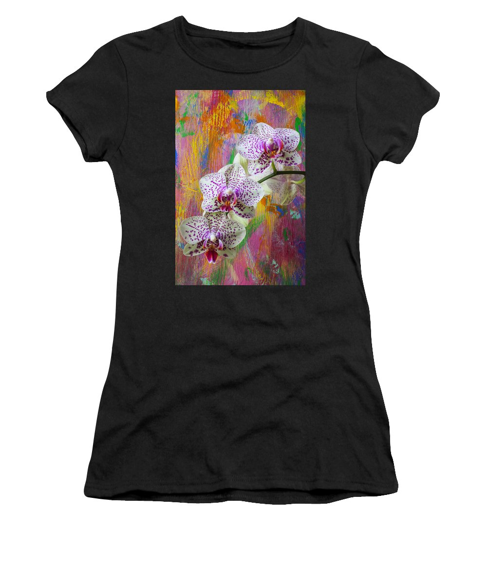 Three Orchids Women's T-Shirt (Athletic Fit) featuring the photograph Colorful Orchids by Garry Gay
