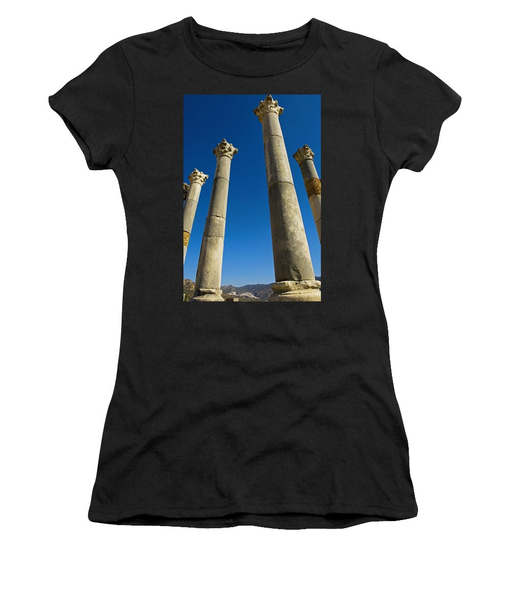 Photography Women's T-Shirt (Athletic Fit) featuring the photograph Column In Capitol In Ancient Roman City by Axiom Photographic