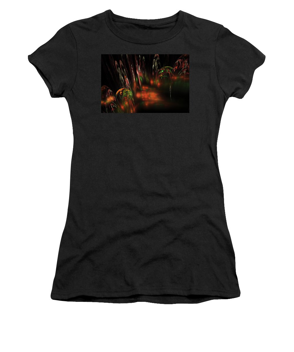 Red Women's T-Shirt (Athletic Fit) featuring the digital art Computer Generated Red Green Abstract Fractal Flame Modern Art by Keith Webber Jr