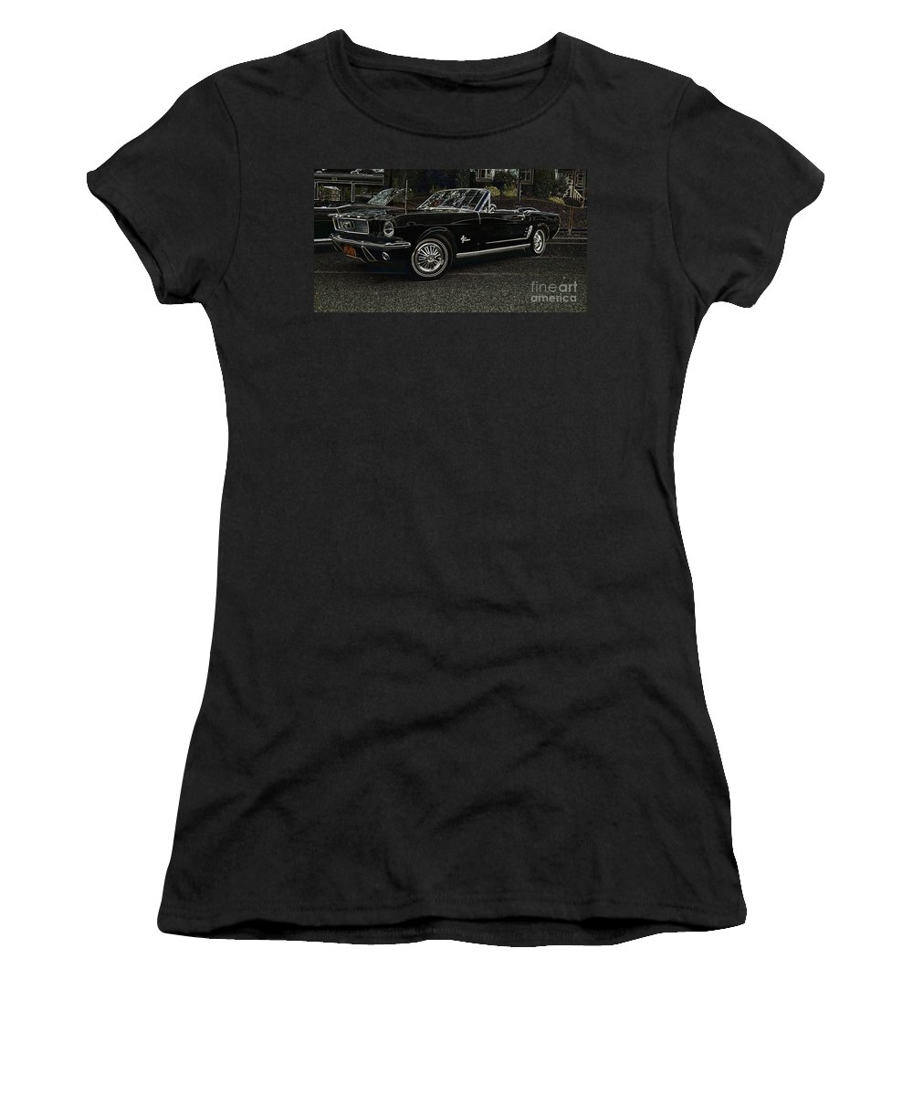 Mustang Women's T-Shirt (Athletic Fit) featuring the photograph Cool Classic Mustang by Darleen Stry