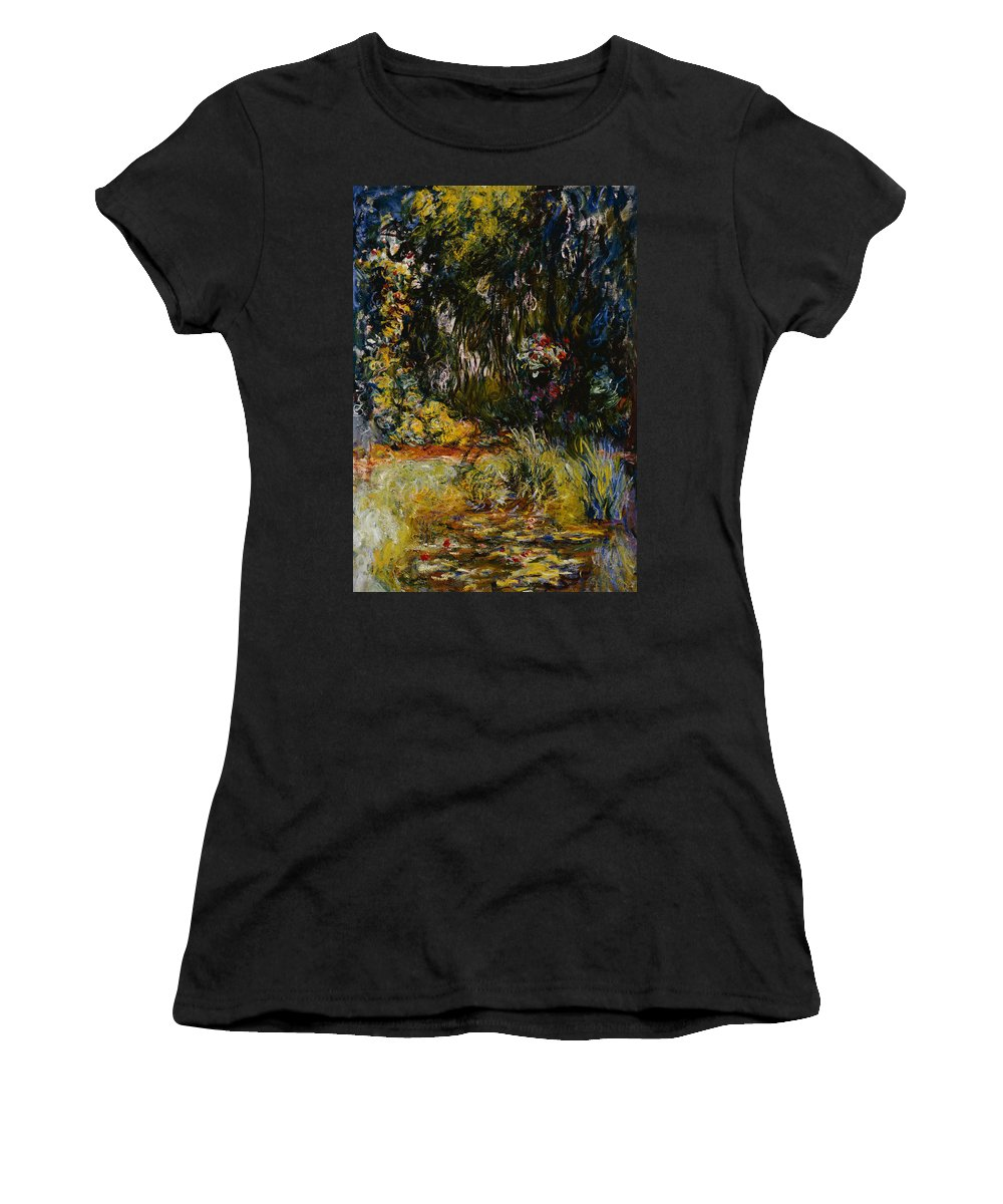 French Women's T-Shirt (Athletic Fit) featuring the painting Corner Of A Pond With Waterlilies by Claude Monet