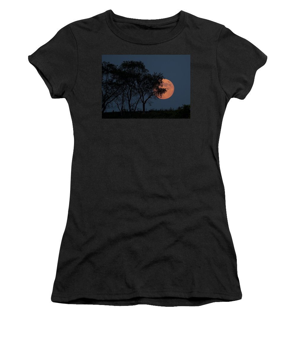 Moon Women's T-Shirt (Athletic Fit) featuring the photograph Country Moon by Betsy Knapp