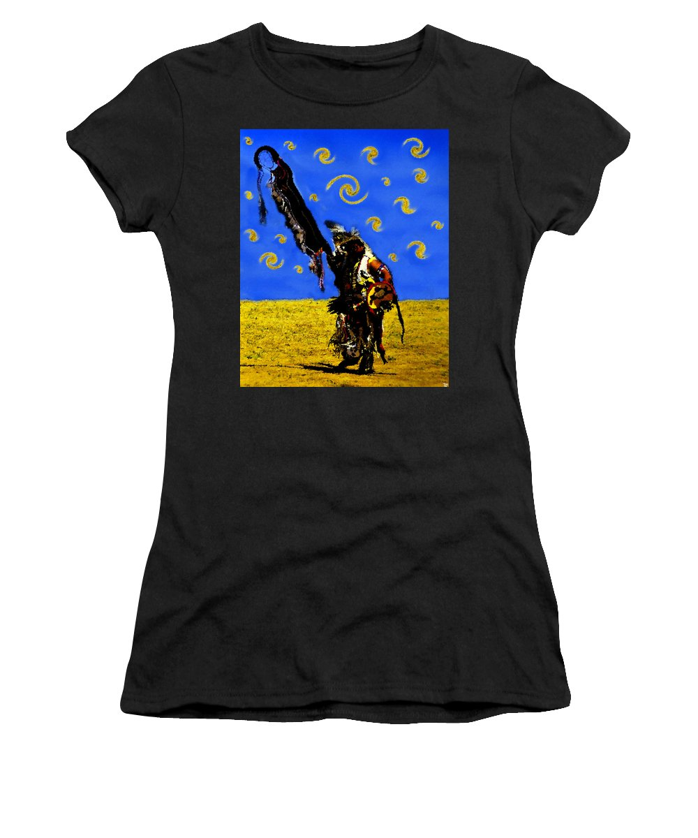 Art Women's T-Shirt (Athletic Fit) featuring the painting Crazy Eyes Vision Dance by David Lee Thompson