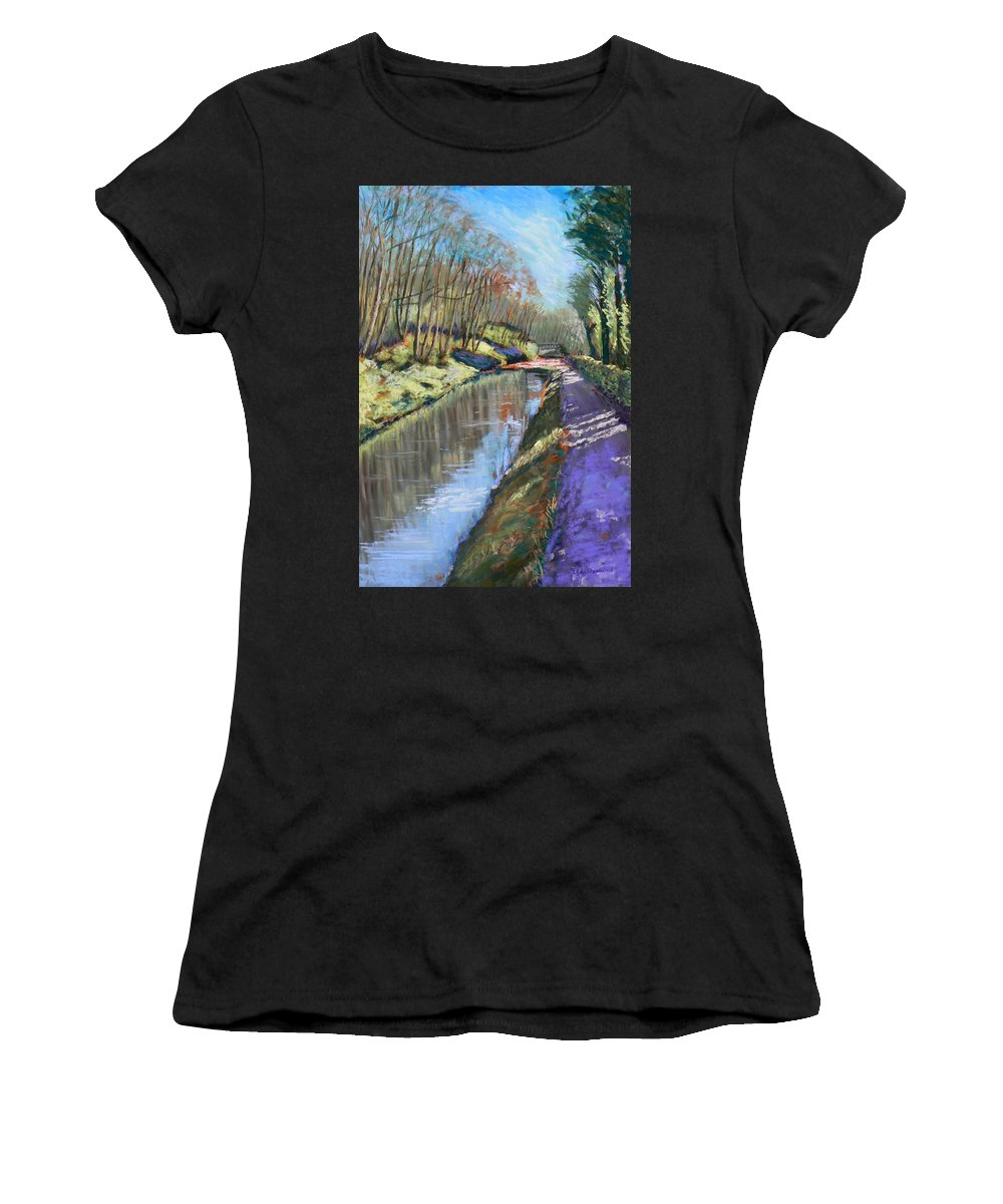 Cromford Women's T-Shirt featuring the painting Cromford Canal by Lynn Presland