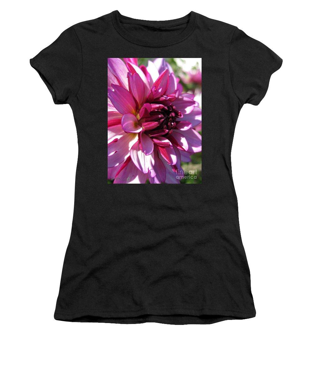 Dahlia Women's T-Shirt (Athletic Fit) featuring the photograph Dahlia Named Lauren Michelle by J McCombie
