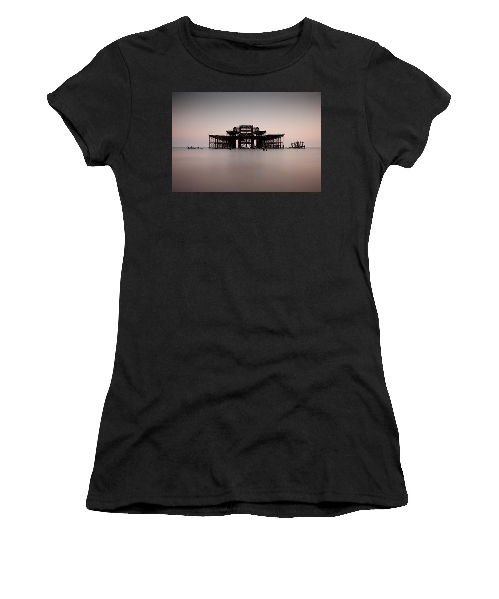 Decay Women's T-Shirt (Athletic Fit) featuring the photograph Decaying Pier by Andy Linden