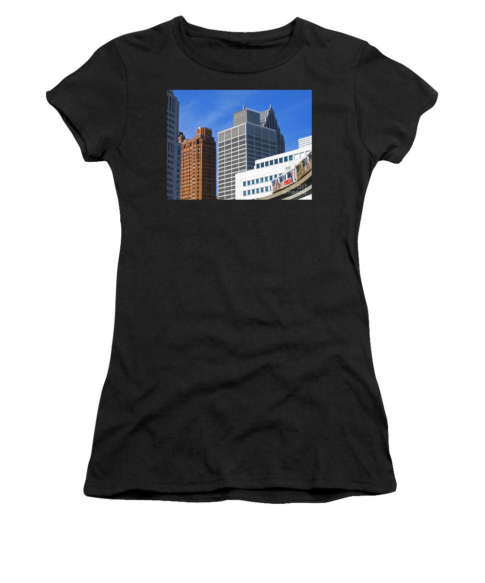 Detroit Women's T-Shirt featuring the photograph Detroit People Mover by Ann Horn