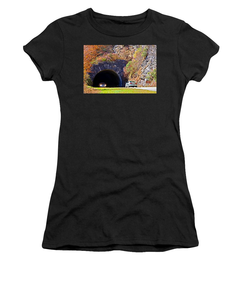 Cars Women's T-Shirt (Athletic Fit) featuring the photograph Devil's Courthouse Tunnel by Susan Leggett