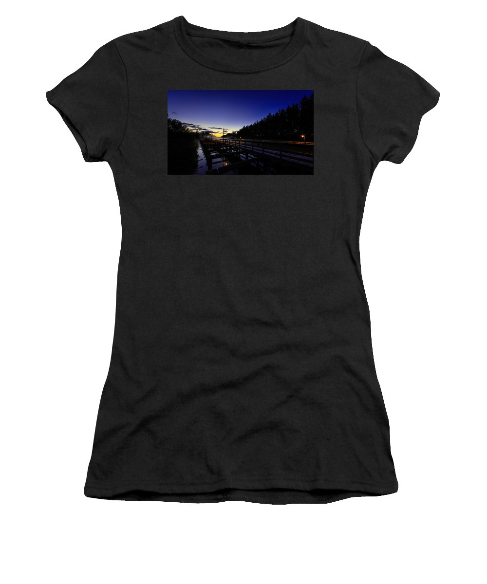 Dock Women's T-Shirt (Athletic Fit) featuring the photograph Dock At Lock 23 by Everet Regal