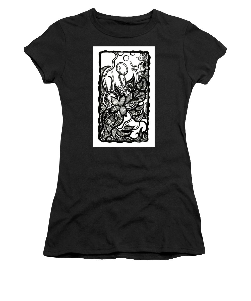 Flowers Women's T-Shirt (Athletic Fit) featuring the drawing Intertwined by Danielle Scott