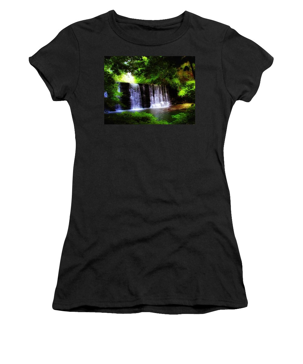 Dove Lake Falls Women's T-Shirt featuring the photograph Dove Lake Falls by Bill Cannon