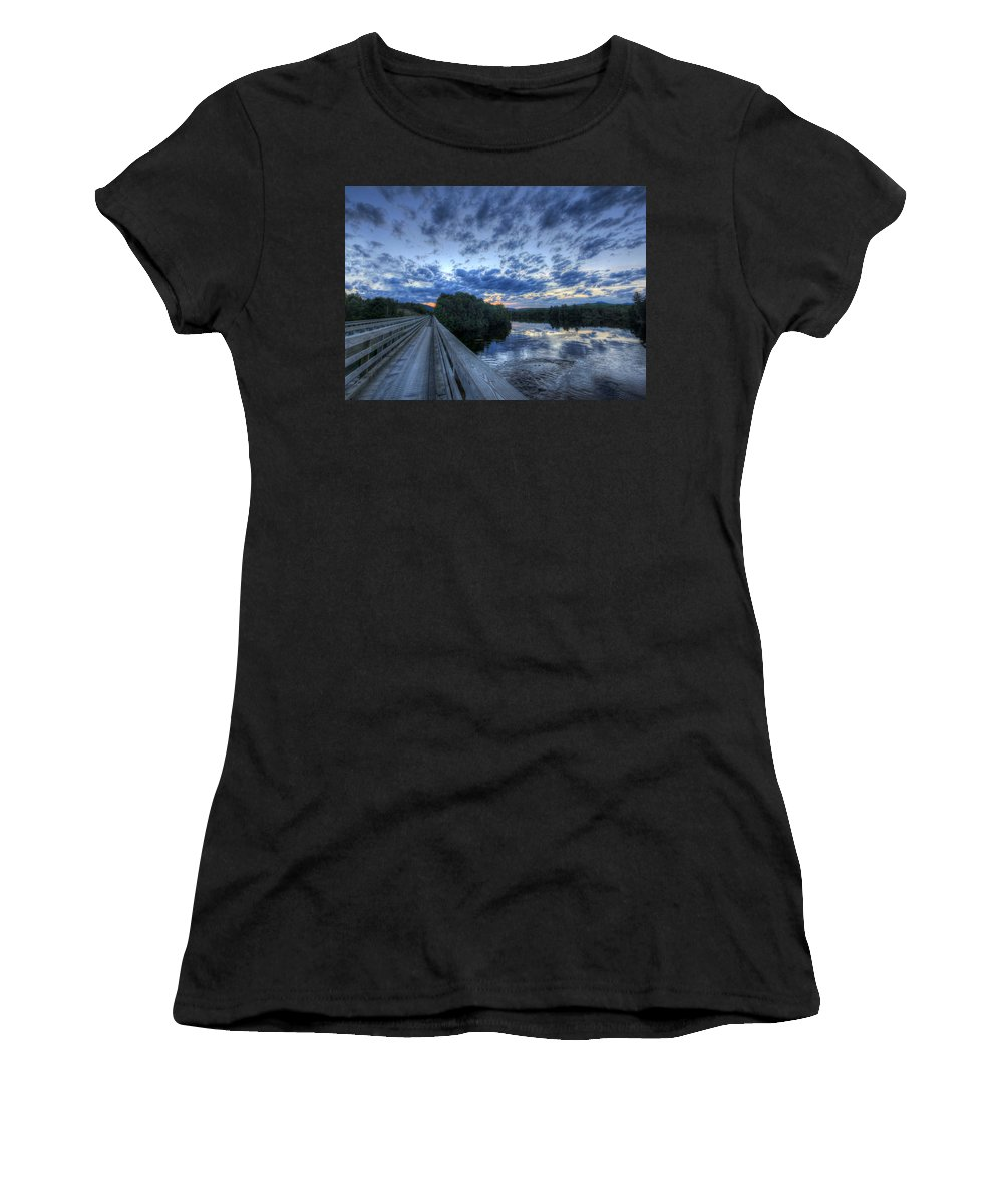 Abol Bridge Women's T-Shirt (Athletic Fit) featuring the photograph Dusk At The Abol Bridge by Lori Deiter